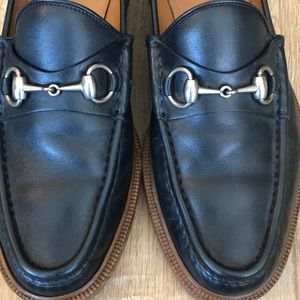Gucci Men's navy blue leather horsebit loafers